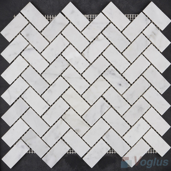 Carrara White Polished Herringbone Marble Mosaic VS-PHB99