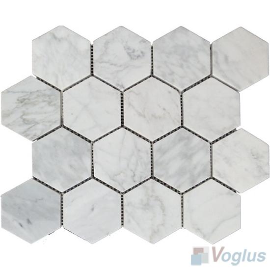 Carrara White Polished Large Hexagon Marble Mosaic VS-PHX99