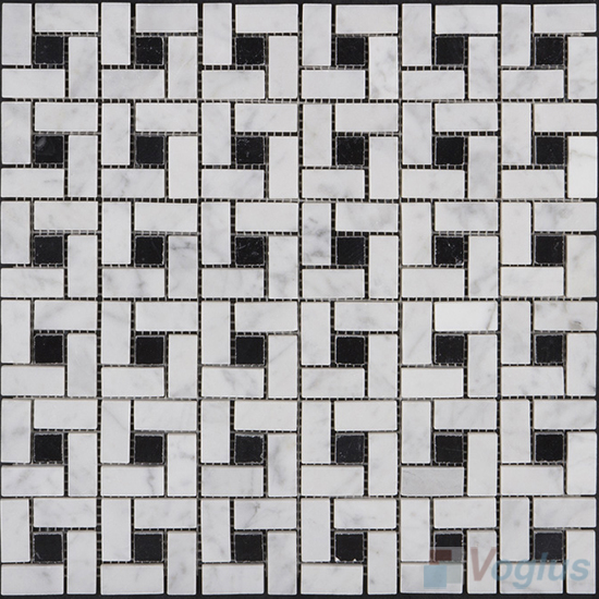 Carrara White Polished Pinwheel Marble Mosaic Tiles VS-PPW99
