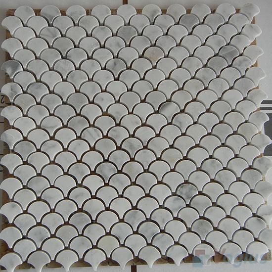 Carrara White Polished Small Fan Shape Fish Scale Marble Mosaic VS-PFN97