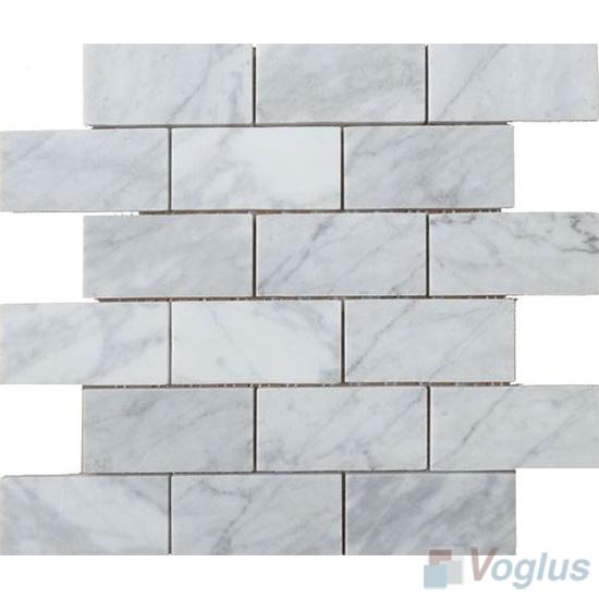 Carrara White Polished Subway Large Brick Marble Mosaic VS-PBK96