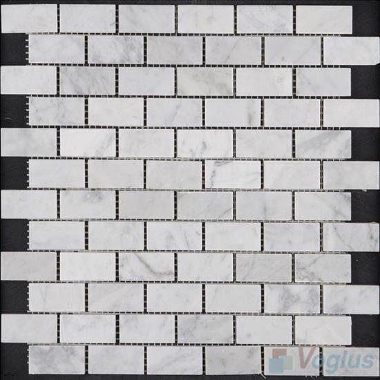 Carrara White Polished Subway Medium Brick Marble Mosaic VS-PBK95