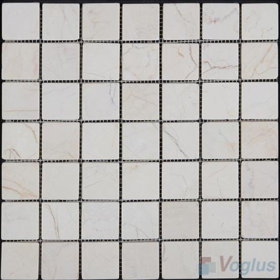 Cream 48x48mm Tumbled Classic Marble Mosaic VS-SEA99