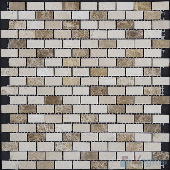 Cream Brown Polished Subway Small Brick Marble Mosaic VS-PBK91