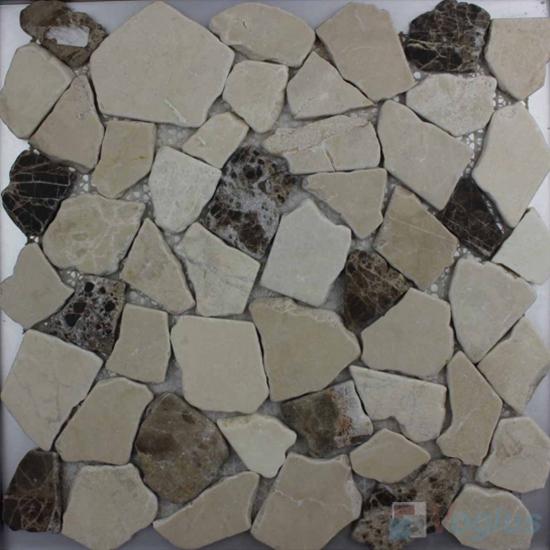 Cream Brown River Rock Stone Mosaic VS-PRR94