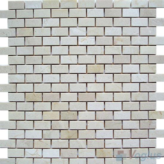 Cream Marfil Honed Subway Small Brick Marble Mosaic VS-PBK89