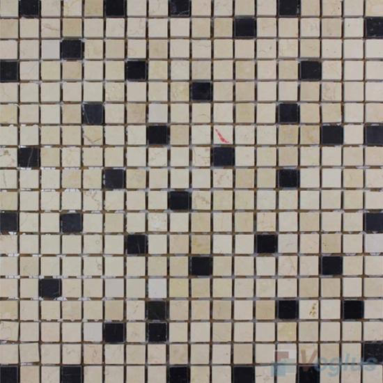 Cream Marfil Polished 15x15mm Painbox Marble Mosaic VS-SAB96