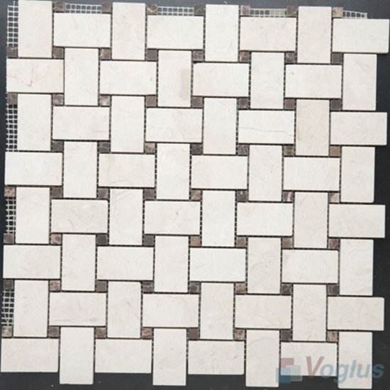 Cream Marfil Polished Basket Weave Stone Mosaic VS-PBW97