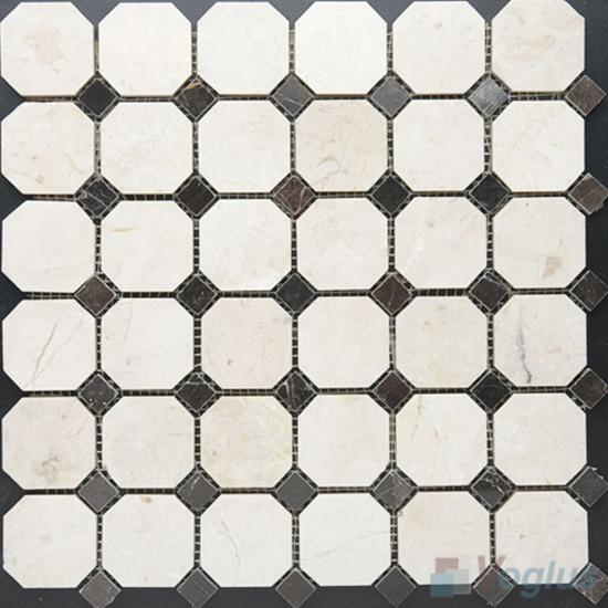 Cream Marfil Polished Octagon Marble Mosaic VS-PTG97