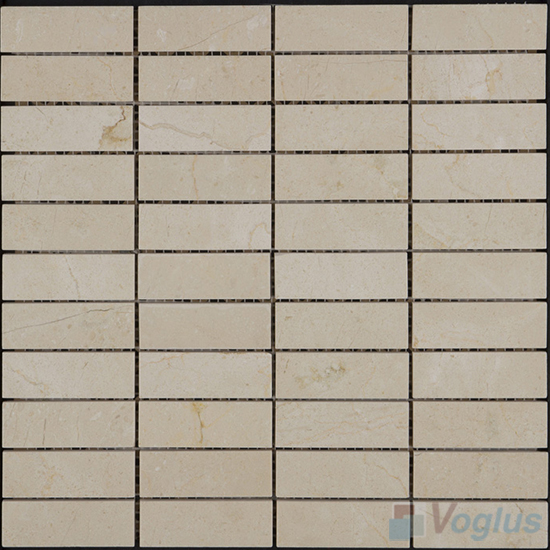 Cream Marfil Polished Stream Marble Mosaic VS-PSR97