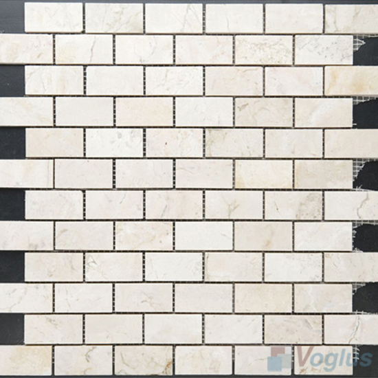 Cream Marfil Polished Subway Medium Brick Marble Mosaic VS-PBK93