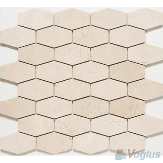 Cream Polished Long Hexagon Marble Mosaic VS-PHX89