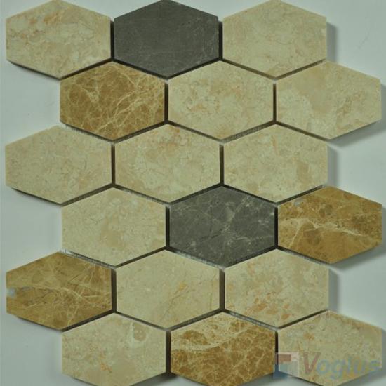Cream Polished Long Hexagon Marble Mosaic VS-PHX91