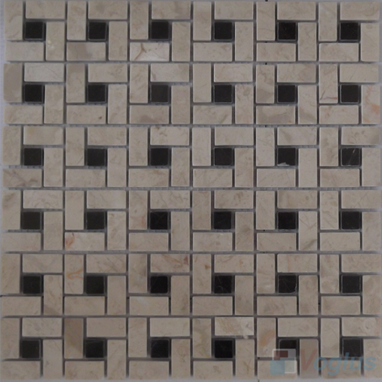 Cream Polished Pinwheel Stone Mosaic Tiles VS-PPW93