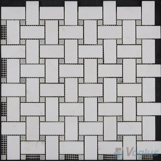 Crystal White Polished Basket Weave Stone Mosaic VS-PBW98