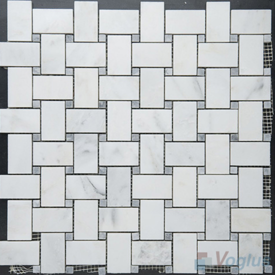 Eastern White Polished Basket Weave Marble Mosaic VS-PBW94