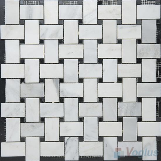Eastern White Polished Basket Weave Stone Mosaic VS-PBW95