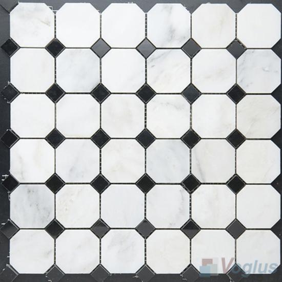 Eastern White Polished Octagon Marble Mosaic VS-PTG94