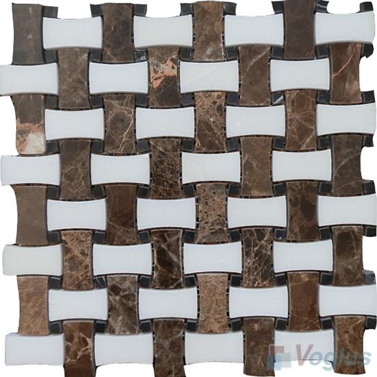 Emperador Dark Polished Basket Weave Marble Mosaic VS-PBW91