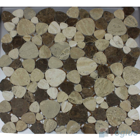 Gray Brown Polished Pebble Marble Mosaic VS-PPB96
