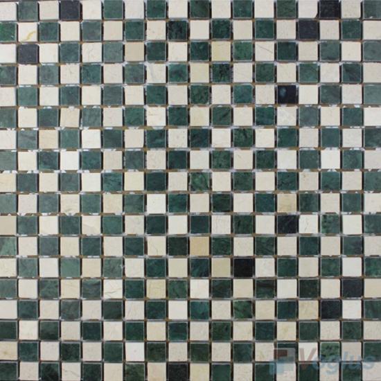 Green Cream Polished 15x15mm Checkerboard Marble Mosaic VS-SAB98