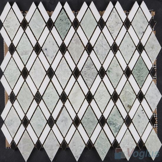 Green Polished Diamond Stone Mosaic Tiles VS-PDM99