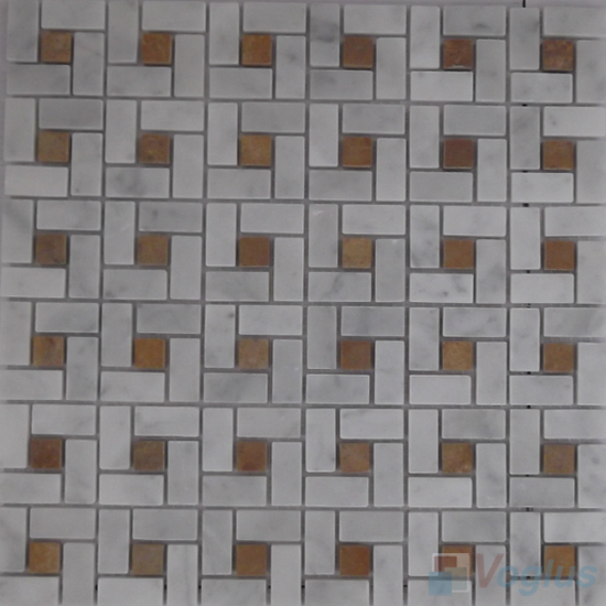 Guangxi White Polished Pinwheel Stone Mosaic Tiles VS-PPW94