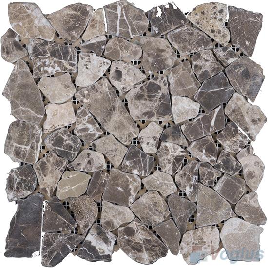 Light Emperador River Rock Marble Mosaic VS-PRR98