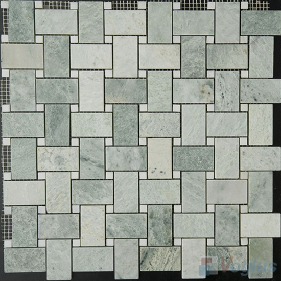 Ming Green Polished Basket Weave Marble Mosaic VS-PBW93