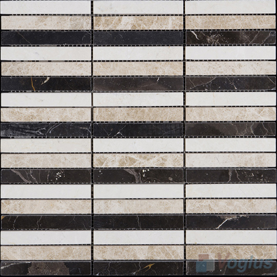 Strip Mixes Polished Stream Marble Mosaic VS-PSR98