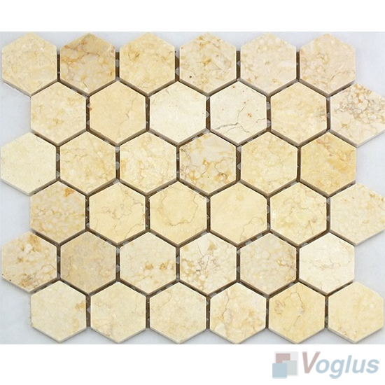 Sunny Beige Polished Medium Hexagon Marble Mosaic VS-PHX96