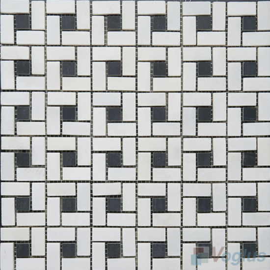 Thassos White Polished Pinwheel Marble Mosaic Tiles VS-PPW96
