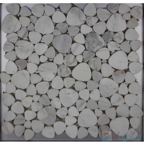 Volakas White Polished Pebble Marble Mosaic VS-PPB97