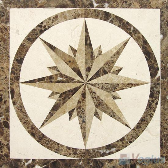 Waterjet Marble Mosaic Square Medallion VS-ASQ97