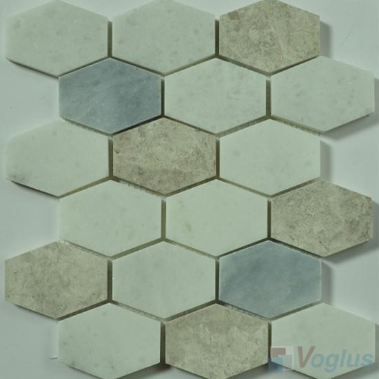 White Polished Long Hexagon Marble Mosaic VS-PHX90