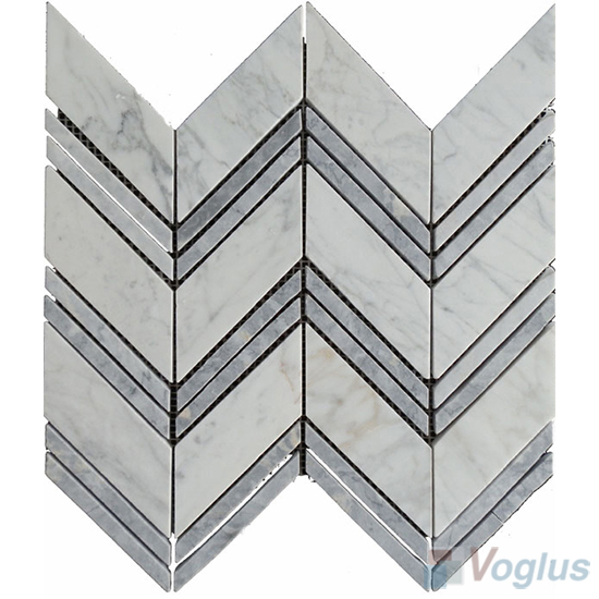 White Wings Polished Herringbone Marble Mosaic VS-PHB96