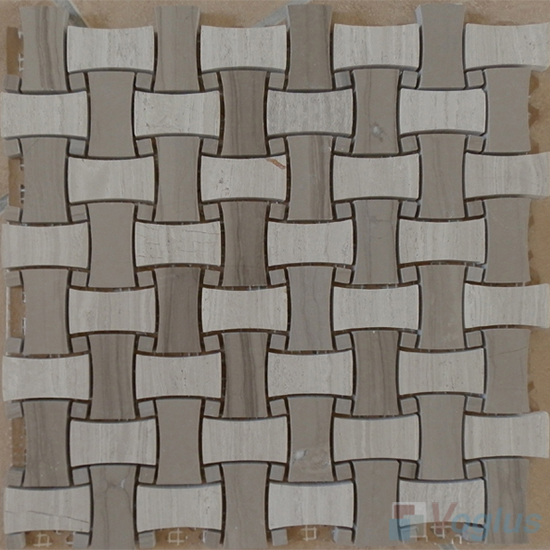 Wooden Gray Polished Basket Weave Marble Mosaic VS-PBW90
