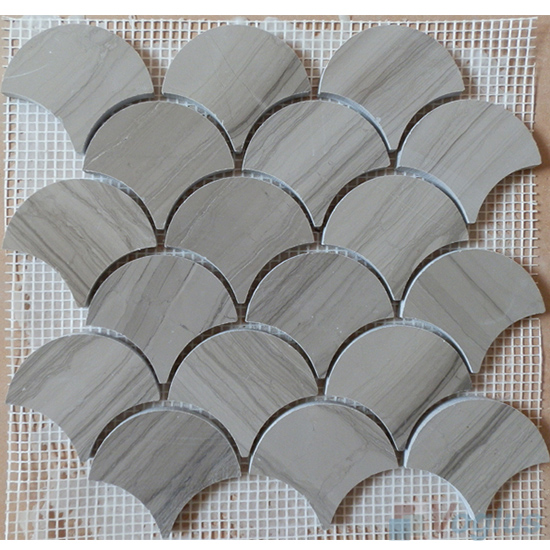 Wooden Gray Polished Large Fan Shape Fish Scale Marble Mosaic VS-PFN99