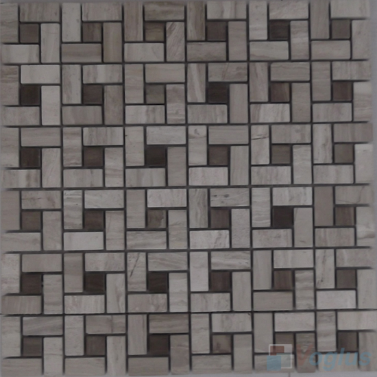 Wooden Gray Polished Pinwheel Stone Mosaic Tiles VS-PPW92
