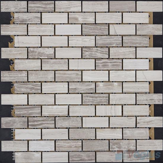 Wooden Gray Polished Subway Medium Brick Marble Mosaic VS-PBK94