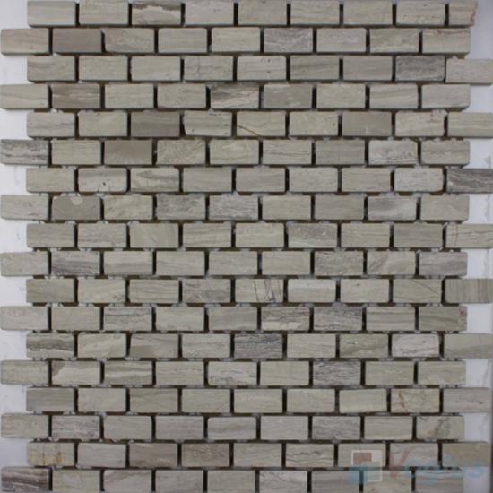 Wooden Gray Polished Subway Small Brick Marble Mosaic VS-PBK90