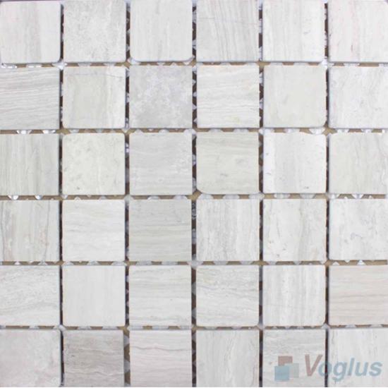 Wooden White 48x48mm Tumbled Classic Marble Mosaic VS-SEA94