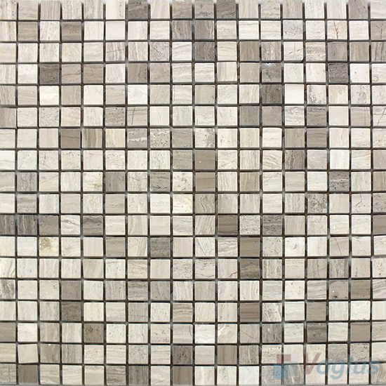 Wooden White Gray Polished 15x15mm Painbox Marble Mosaic VS-SAB97