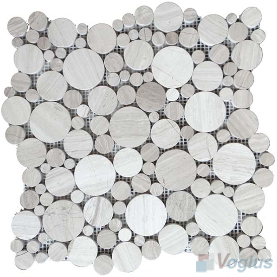Wooden White Polished Bubble Marble Mosaic VS-PPB92