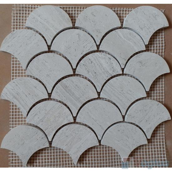 Wooden White Polished Large Fan Shape Fish Scale Marble Mosaic VS-PFN98