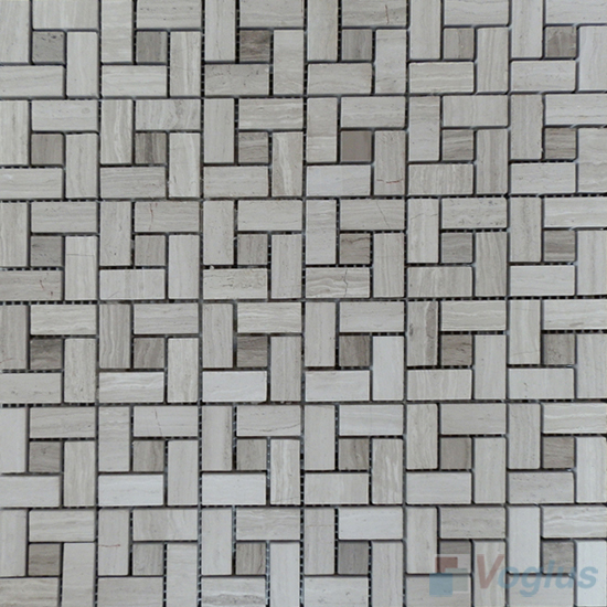 Wooden White Polished Pinwheel Stone Mosaic Tiles VS-PPW95