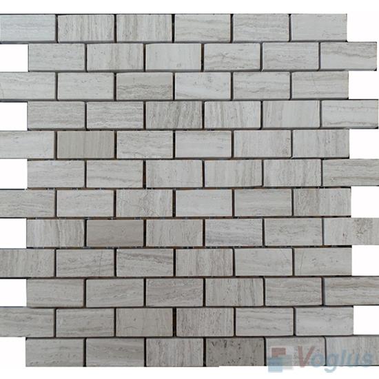 Wooden White Polished Subway Medium Brick Marble Mosaic VS-PBK92