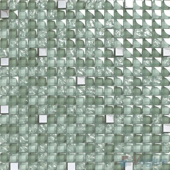 Asparagus 15x15mm Glass Metal Mix Mosaic VB-GMA97