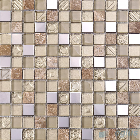 Beige 1x1 Glass Mix Metal Mosaic Tiles VB-GMB95