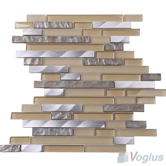 Beige Bullet Linear Glass Metal Mosaic Tiles VB-GML95